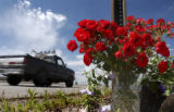 (Franktown, Colo., July 7, 2004) Cars drive past flowers left as a roadside memorial for...