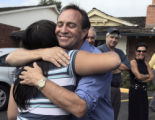 Seventh Congressional District Democratic primary winner Ed Perlmutter (cq)  gets a hug from his...