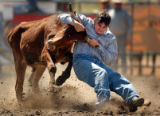 (Jefferson County, CO., June 22, 2004) Russell Smith, Bailey, Colo., wrestles a steer to the...