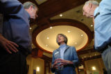 (DENVER, COLO., JULY 8, 2004)    Candidates for District Attorney Beth McCann, center, speaks with...