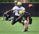 University of Colorado wide receiver Scotty McNight (#21, black) gets tangled up with cornerback...