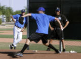 SPECIAL TO ROCKY MOUNTAIN NEWS--CODER--Luke Hochevar works out in the Kansas City Royals training...