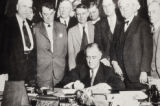 President Franklin D Roosevelt signing the New Deal conservation legislation; Photographer...
