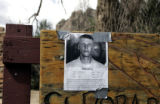 A sign of missing Lance Hering is posted at the entrance of Eldorado Canyon State Park near...