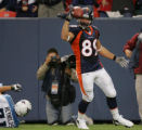 08/19/2006 Denver Broncos Nate Jackson, #89, celebrates scoring a touchdown on a 35-yard pass from...