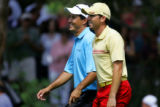Playing partners Dean Wilson (left) and Sergio Garcia (right) were all smiles as they approached...