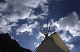 Telluride, CO. June 2004 This solar powered teepee located on the outskirts of Telluride, CO., is...