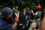 DLM00887   Seth Temin refuses to comment on the case of his client John Mark Karr as he is swarmed...