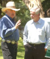 (La Plata County, CO, Shot on 062604) U.S. Senator Ben Nighthorse Campbell(left) speaks with 3rd...
