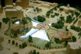 Photo of the wooden replica of what Civic Center Park might look like in the future. The long...