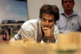 Denver architect Kerry Blasdel (cq) looks over a wooden model of the planned overhaul of Civic...