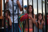 (ENGLEWOOD, Colo., July 15, 2004) Sisters patience. Waiting at the swimming pool gate. Seanna (cq...
