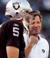 Ray Chavez/staff  9/1/05  Sports Raiders QB Kerry Collins, left, listens to head coach Norv Turner...