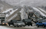 Traffic on west bound I-70 came to a stop between Idaho Springs and Georgetown after snow and ice...