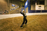 "(Thurs. Jan. 13, 2005) Johnny ""Lonestar"" Giannotti, from Branson, Mo., practices his..."