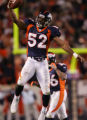 Broncos linebacker Ian Gold celebrates his fumble recovery during action in the 2nd quarter of the...