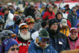 Skiers and boarders wait in line for the American Eagle lift at Copper Mountain on Friday,...