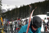 Skiers gather at the top of the peak at Copper Mountain on Friday, December 30, 2005. Copper and...
