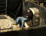 Abe Redden (cq) takes it easy in his pen in the yard at the National Western Stock Show complex...