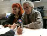 World renown artists  Jeanne-Claude, left, and Christo, right, speak to local media at the Holy...