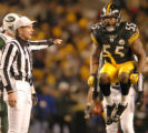 1/15/2005  PITTSBURGH:  Pittsburgh Steelers Joey Porter jumps in the air in disgust after being...