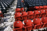 At Invesco Field, in Denver, Colo. on 1/20/06,  shovels were heaving and hoeing snow from the...
