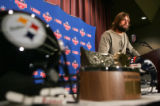 Broncos Quarterback Jake Plummer talks to the media during a press conference for the upcoming AFC...