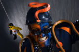 "Broncos fan Chuck ""Snake Man"" DeVorss, cq, 50 , of Longmont gets crazy in the South..."