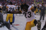 013 Pittsburgh Steelers safety #23 Tyrone Carter celebrates  Sunday's AFC Championship victory...