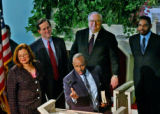 At the podium (l-r) Dr. Alveda King, Sen. Rick Santorum, (front) Bishop Wellington Boone, Dr....