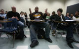 **1/23/06** Duane Anderson, a senior at Metro State College of Denver, makes a point during class...