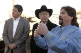 Tom Foley, (cq),, left, investor and managing partner, Ken Salazar, with hat, Monte Malone (cq)...