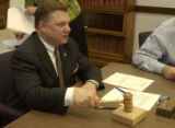 Senator Tom Wiens, tests his gavel just presented to him, R, Castle Rock, as he was named new...