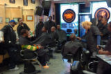 (NYT51) NEW YORK -- Jan. 24, 2006 -- TV-BARBERSHOP -- The rapper Busta Rhymes, seated at left, ...