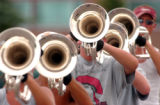 (DENVER, CO , June 29, 2004) Brass members of the Blue Knights Drum and Bugle Corps Championships...