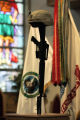 SFC Eric Paul Pearrow's , helmet, weapon and dog tags on display during a memorial at  Soldier's...