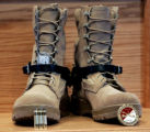 SFC Eric Paul Pearrow's , boots, on display during a memorial at  Soldier's Memorial Chapel at Ft....