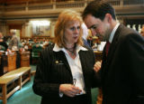 FOR FUTURE LYNN BARTELS STORY:   Rep. Cheri Jahn (D-Wheatridge) talks with House Speaker Andrew...