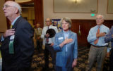 (DENVER, COLO., JULY 8, 2004)    Cadidate for District Attorney Beth McCann, center,  stands among...