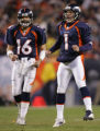 Broncos field kicker Jason Elam hops in anticipation of the Broncos first field goal which put the...