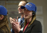 **1/15/06** System Engineer Jill Cattrysse-Larson celebrates a successful end to the Stardust...