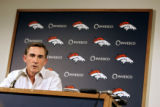 Denver Broncos' head coach Mike Shanahan talks Monday January 16, 2006 with the media about this...