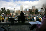 Mayor John Hickenlooper address thousands that gathered at Civic Center park after the three mile...