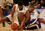JPM070  Colorado State University Rams guard Chris Harris, left, and Texas Christian University...
