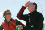 BOULDER, CO-- Dana Derichsweiler (cq) laughs with her brother, Kirk Derichsweiler, (cq) as they...