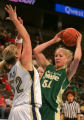 Lauren Riley, of BYU, defends Marilyn Moulton, of CSU, in the first half of BYU against Colorado...
