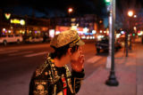 David Kahley, cq, Littleton, puffs on a smkoe outside the Bluebird Theater before seeing the...