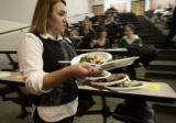 Jessica Fritz, a Johnson and Wales Community Leadership Institute student serves up a vegan dish...