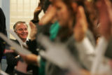 Congressman Tom Tancredo, (R), Sixth District of Colorado, watches immigrants take their oath of...