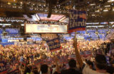 (BOSTON, Mass, July 26, 2004)  Delegates cheer on former Vice President Al Gore during the first...
